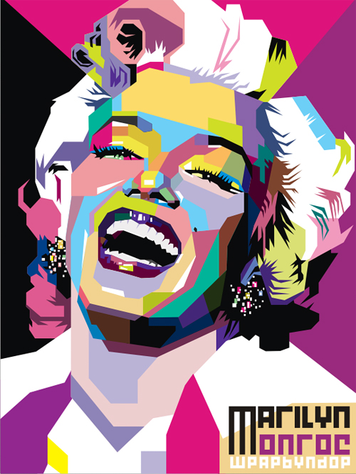 Abstract colorful pop art marilyn monroe artworks illustrations
