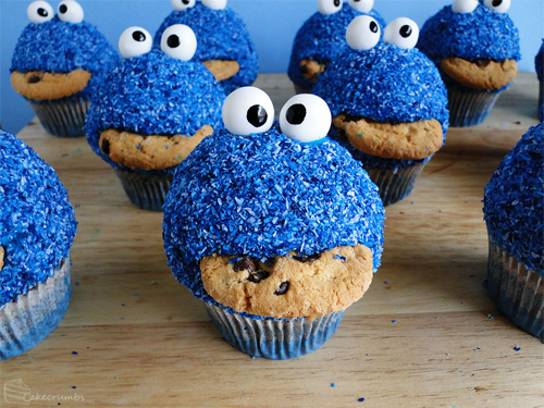Cute cookie monster cupcake design inspiration