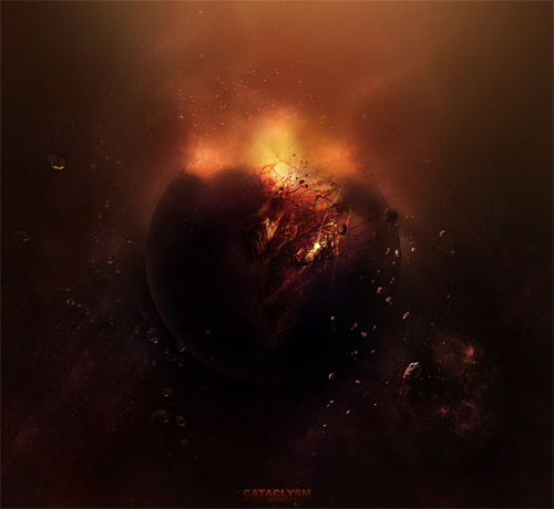 Fire exploding end world illustrations