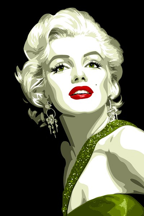 Green marilyn monroe artworks illustrations