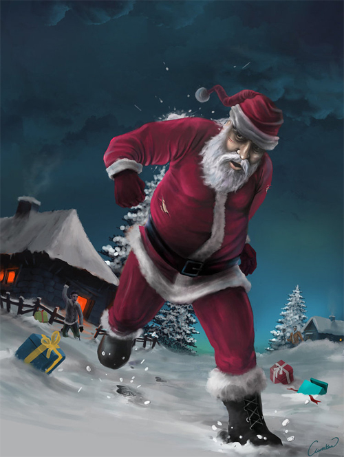 Running santa claus christmas artworks illustrations