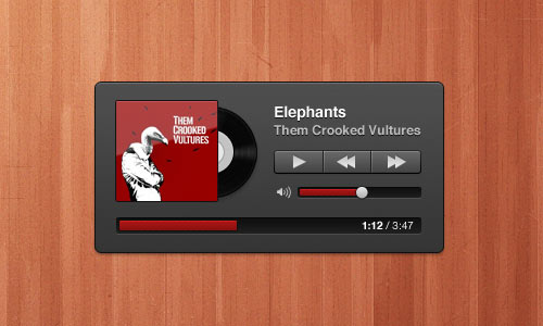 Cute Dark Music Player Free PSD