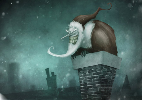 Monster scary santa claus christmas artworks illustrations