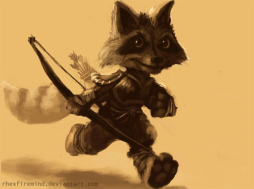 racoon animal archer illustrations artworks drawings