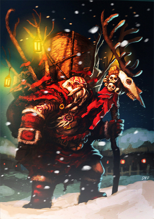Tribal warrior santa claus christmas artworks illustrations