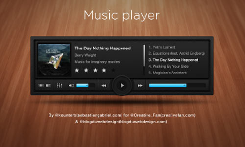 Free PSD: Sleek and Dark Music Player