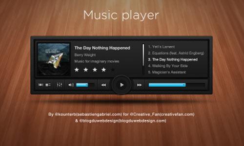 Free PSD: Sleek and Dark Music Player