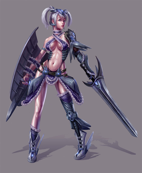 Sexy lady swordsman artworks illustrations