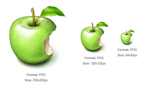 Green Apple with Bite icon