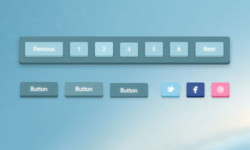 3D Pagination and Buttons PSD