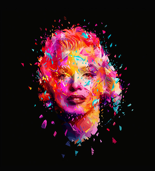 Abstract colorful marilyn monroe artworks illustrations