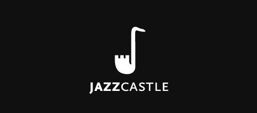 Jazz saxophone castle logo