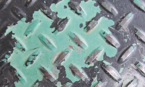 Peeling Paint on Diamond Plate