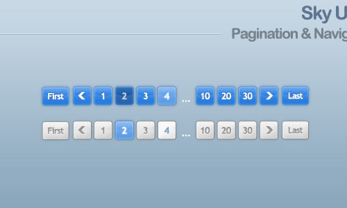 Clean Pagination Styles – Sky UI Kit (Free PSD)