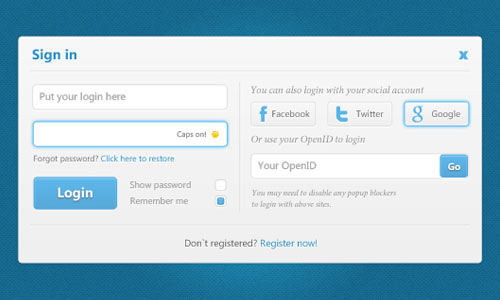Useful Login Form UI PSD