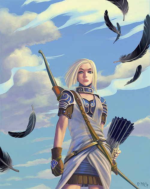 white feather archer illustrations artworks drawings