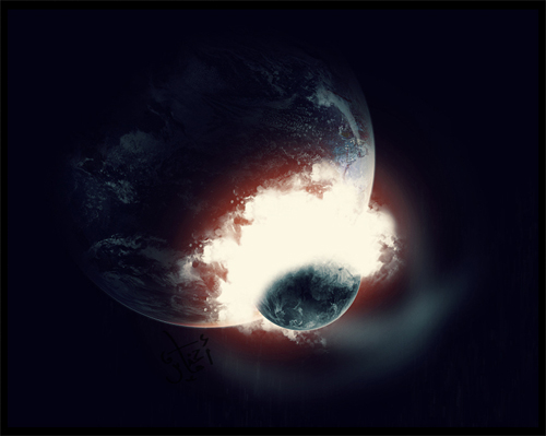 Collide planet end world illustrations
