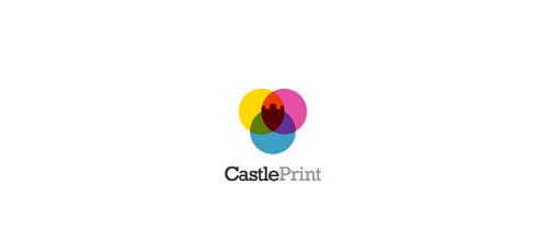Colorful print castle logo