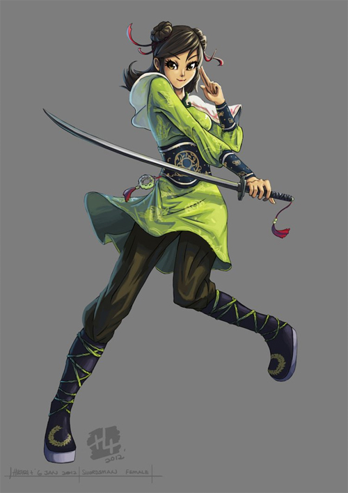 Cute girl swordsman artworks illustrations
