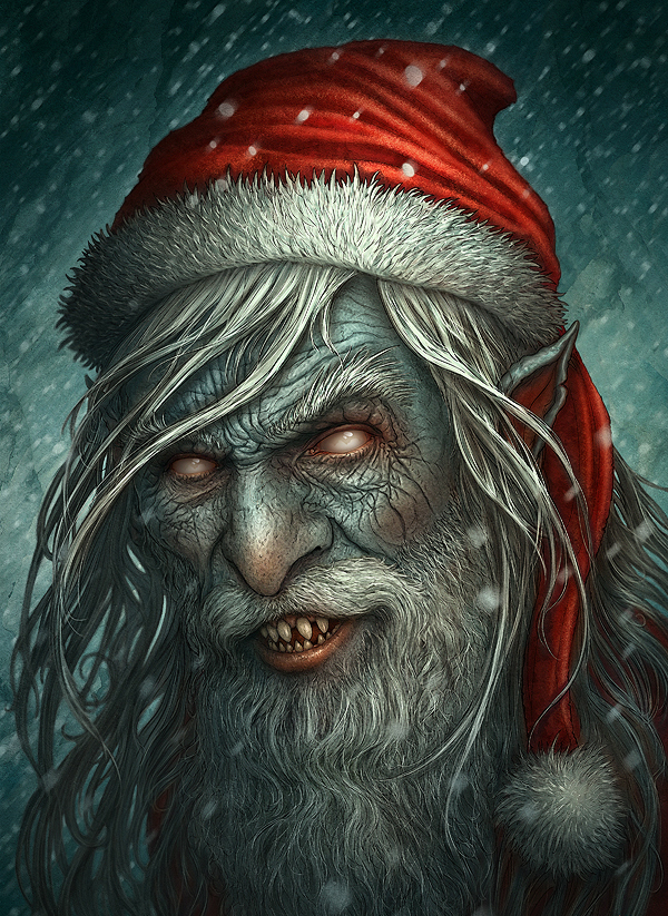 Zombie monster santa claus christmas artworks illustrations