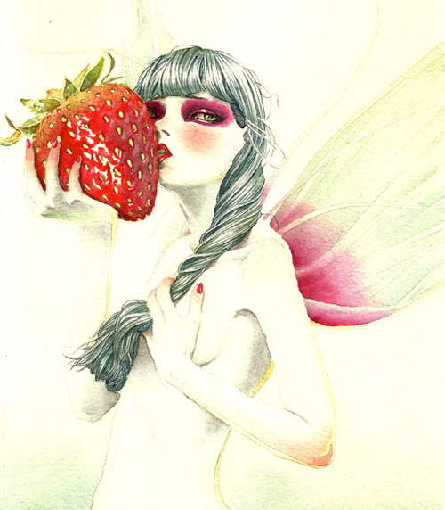 Strawberry fairy illustrations artworks
