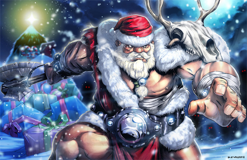 Barbarian warrior santa claus christmas artworks illustrations