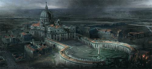 Destroyed building end world illustrations