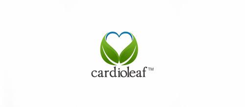 Heart cardio leaf logo