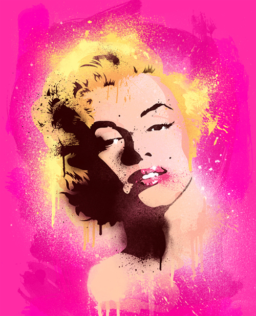 Pop art spray paint marilyn monroe artworks illustrations