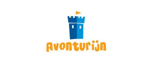 Fun blue castle logo