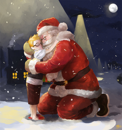Hug santa claus christmas artworks illustrations