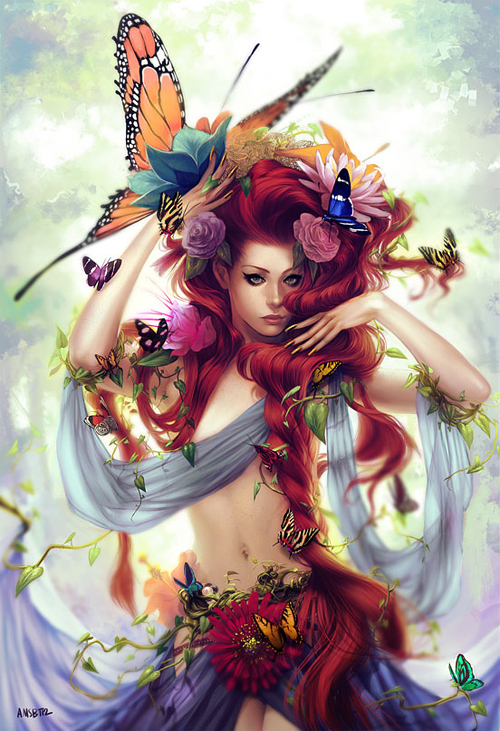 Red hair head butterfly fairy illustrations artworks