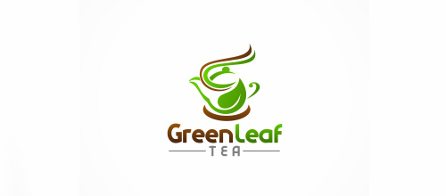 Tea pot leaf logo