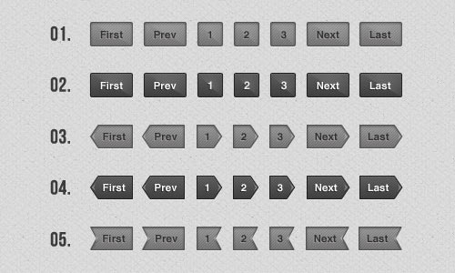 Simple Gray Pagination Buttons Free PSD