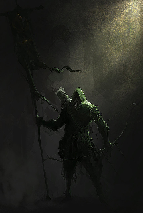 hunter hood scary archer illustrations artworks drawings