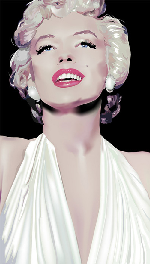 White marilyn monroe artworks illustrations