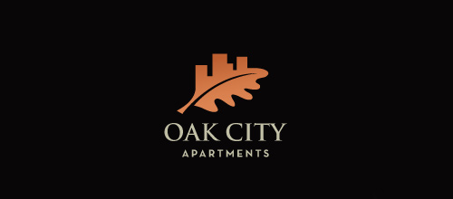 Orange oak leaf logo