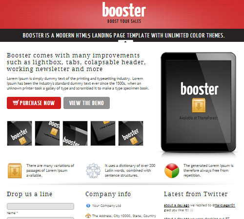 Booster - Product Focused HTML5 Landing Page