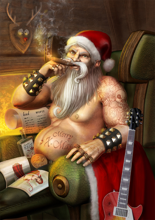 Rocker santa claus christmas artworks illustrations