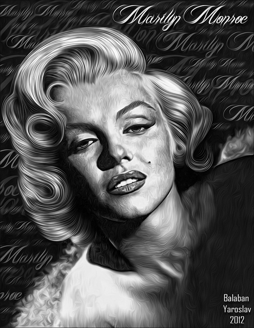 Black white marilyn monroe artworks illustrations