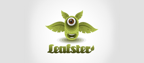 Monster eye leaf logo
