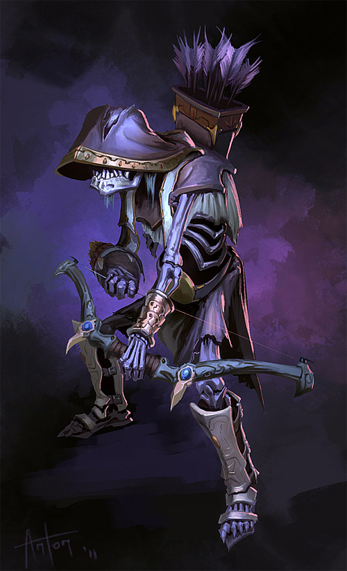 purple mosnter zombie skeleton archer illustrations artworks drawings