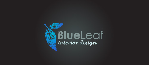 Blue wood grain effect leaf logo