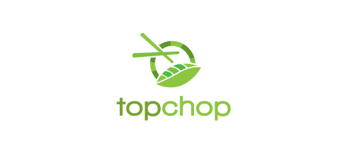 Chopstick chinese food leaf logo