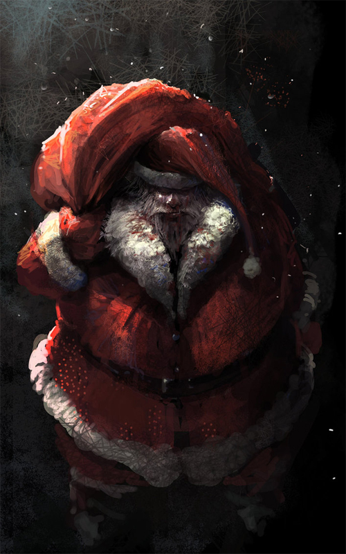 Dark scary santa claus christmas artworks illustrations