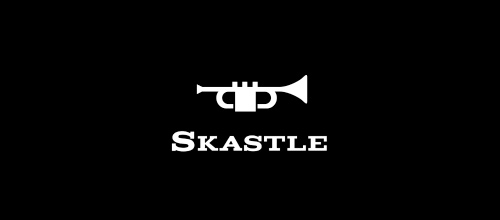 Music trumpet castle logo