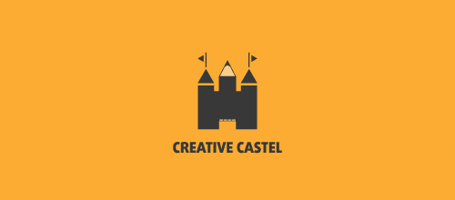 Creative pencil castle logo