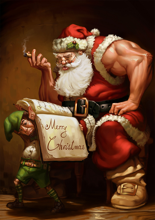 Muscles santa claus christmas artworks illustrations