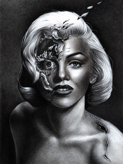 Portrait pencil marilyn monroe artworks illustrations