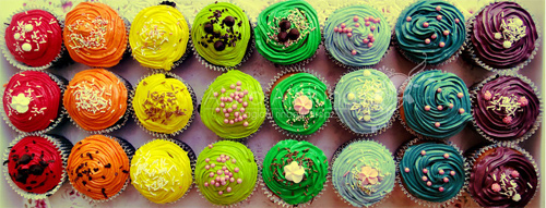 Rainbow colorful cupcake design inspiration